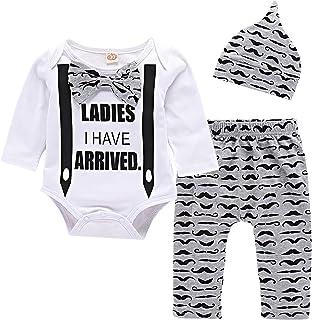 Yilaku ubrania dla dzieci śpioszki - 3/4 szt. bawełniane bluzki z długim rękawem z czapkami lub opaską, niemowlęce chłopcy...