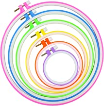 Similane 6 Pieces Embroidery Hoops, Plastic Circle Cross Stitch Hoop Ring 3.4 inch to 10.2 inch (Multicolor) for Embroider...