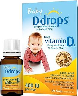 Ddrops 1072834 400 IU Liquid Vitamin D3 Drops for Babies, 2.5 ml, 2 Count