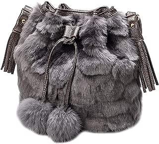Queena Women Winter Faux Fur Shoulder Bag Drawstring Bucket Bag with Pompom