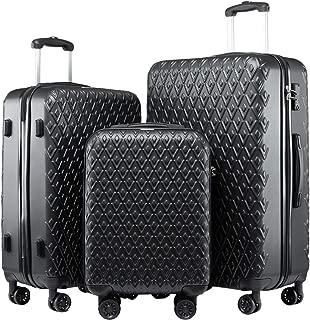 Seanshow Luggage Sets Hard Shell TSA Lock Black 3PCS Luggage Set 18-24-28in