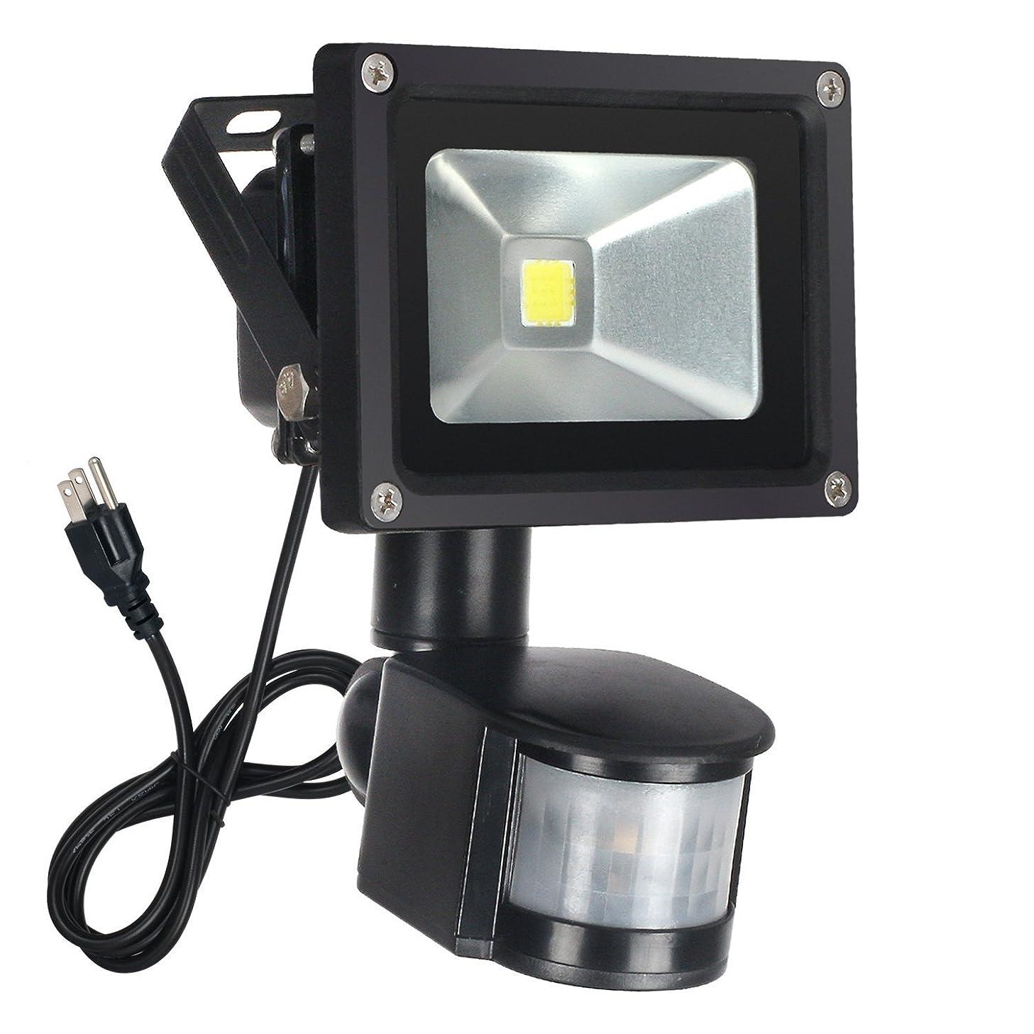 FAISHILAN Motion Sensor Flood Light 10W LED IP65 Waterproof Security Lights 6000K, 800 Lumen, US 3-Plug Outdoor Wall Light