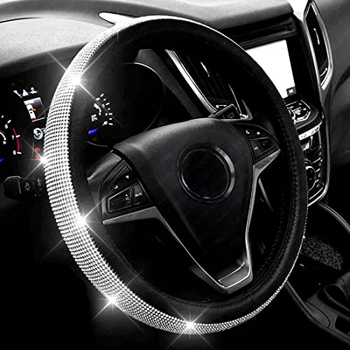 New Diamond Leather Steering Wheel Cover with Bling Bling Crystal Rhinestones, Universal Fit 15 Inch Car Wheel Protec...
