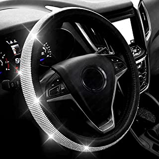 New Diamond Leather Steering Wheel Cover with Bling Bling Crystal Rhinestones, Universal Fit 15 Inch Car Wheel Protector f...