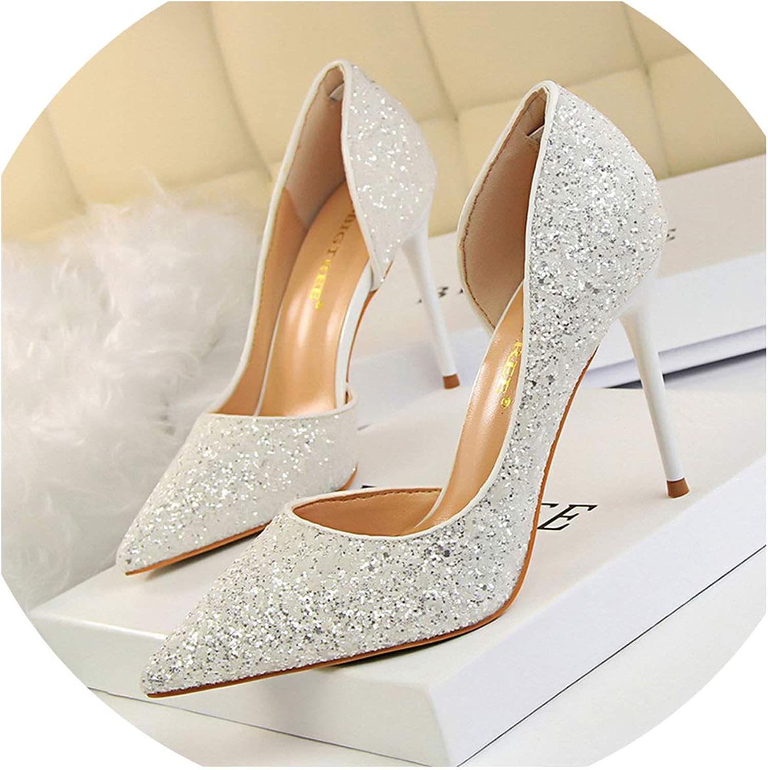 Crack of dawn Women Pumps Sexy Women shoes Wedding Party Heels Shining High Heels Fashion