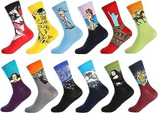 Calcetines Estampados Hombre, Hombres Ocasionales Calcetines Divertidos Impresos de Algodón de Pintura Famosa de Arte Calcetines, Calcetines de Colores de moda