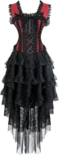 Kimring Women's Vintage Victorian Steampunk Corset Dress Showgirl Cancan Costume
