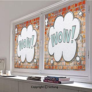 30x30 inch Decorative Static Cling Frosted Privacy Window Film,Red Cracked Brick Wall British Backdrop Uk English Pop Art Cloud 90s Grunge Glass film for Window Glass Panels,UV Protection,Energy Savin