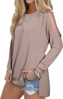Women's Cutout Cold Shoulder Long Sleeve T-Shirt Tunic Tops