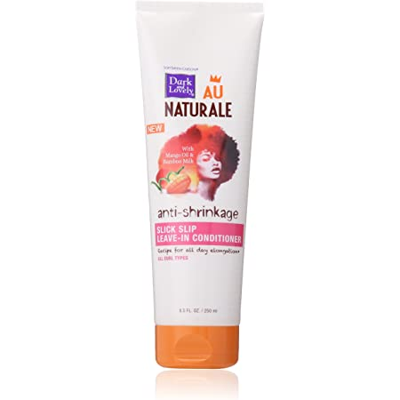SoftSheen-Carson Dark and Lovely Au Naturale Anti-Shrinkage Curly Hair Products, Slick Slip Leave-In Conditioner, with Mango Oil and Bamboo Milk, for All Curl Types, Paraben Free, 8.5 Fl oz