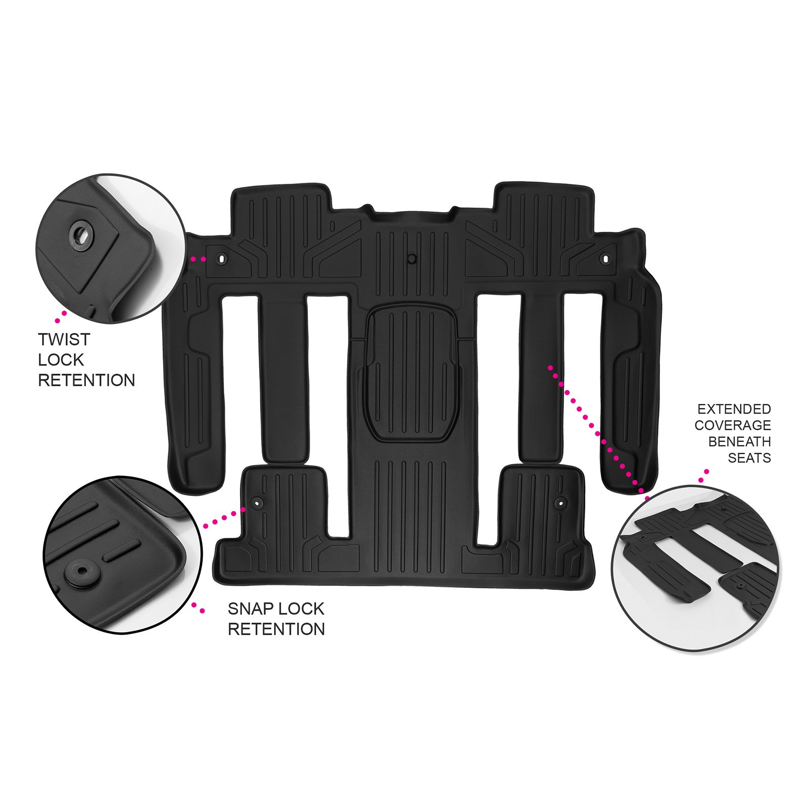MAXLINER Floor Mats 2nd and 3rd Row Liner Black for Traverse/Enclave / Acadia/Outlook (with 2nd Row Bucket Seats)