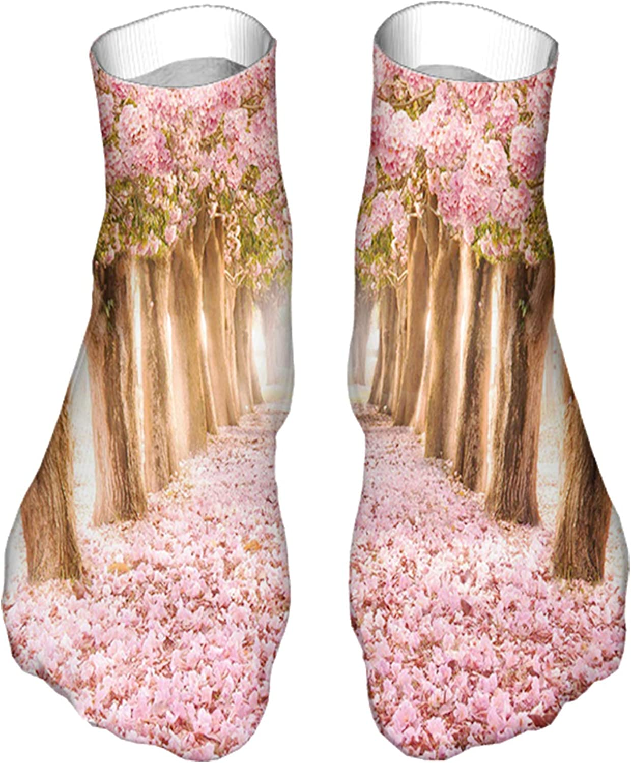 Men's and Women's Fun Socks Printed Cool Novelty Funny Socks,Lovely Picture with Falling Petals Floral Tunnel of Love