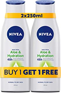 NIVEA, Body Care, Body Lotion, Aloe & Hydration, Normal to Dry Skin, 2 x 250ml