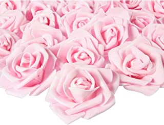 Artificial Stemless Rose Flower Heads for Weddings, Decor, DIY (3 in, Light Pink, 100 Pack)
