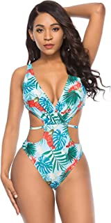 Deep V One Piece Swimsuit, Sexy Cutout Swimwear High Waisted Swimsuit Monokini Bathing Suits for Women