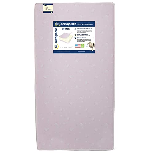 Serta Sertapedic Petals Fiber Core Crib and Toddler Mattress | Waterproof | Lightweight| GREENGUARD Gold Certified (Natural/Non-Toxic), Pink