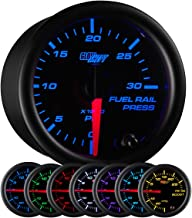 GlowShift Black 7 Color 30,000 PSI Fuel Rail Pressure Gauge - for 2002-2017 6.6L Chevy Duramax & 2003-2017 5.9L / 6.7L Dodge Cummins Diesel Trucks - Black Dial - Clear Lens - 2-1/16