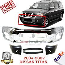 Front Bumper Chrome For 2004-2007 Nissan Titan LE/SE Extended Crew Cab Pickup 4WD Bumper End + Filler Panel Left Hand & Right Hand Side Direct Replacement Primed Set of 5 NI1004145 NI1005145