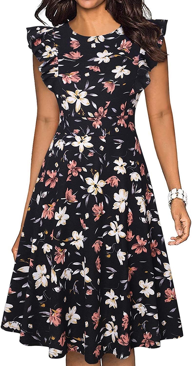 Womens Vintage Ruffle Sleeves Floral Print Flared A Line Swing Summer Garden Cocktail Party Casual Dresses with Pockets