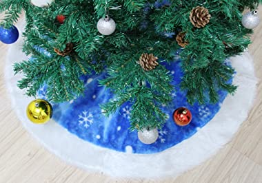 MrXLWhome Christmas Tree Skirts Blue 36inches, Blue and White Holiday Tree Skirts, Christmas Tree Decorations Skirts 36inches