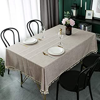 Tablecloth Stitching Tassel Cotton Linen Heavy Weight Tablecloth Wrinkle Free Dust-Proof Fabric Stripe Table Cover Cloth for Kitchen Dining Patio Wedding Parties Farmhouse Tabletop Decoration