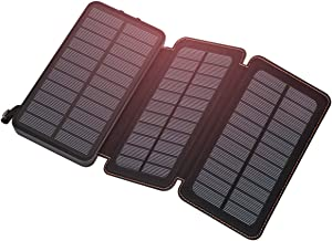 Feelle Solar Charger 24000mAh, Solar Power Bank with 3 Solar Panels Portable Phone Chargers for Smart Phones, Tablets and More