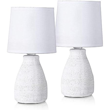 BRUBAKER - Lampe de table/de chevet - Lot de 2 - Design scandinave/moderne - Hauteur 28 cm - Pied en Céramique - Abat-jour en Coton/Blanc