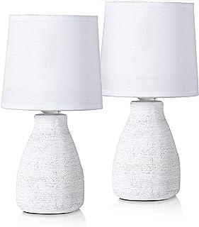 BRUBAKER - Lampe de table/de chevet - Lot de 2 - Design scandinave/moderne - Hauteur 28 cm - Pied en Céramique - Abat-jour...