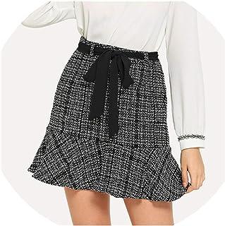 0e845f063 Brittany-Breanna Belted Flounce Tweed Skirt Women High Waist Going Out  Short Skirt