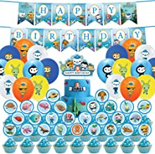 20 Balloons. Birthday Banner Party Supplies for Octon-auts Birthday Party Supplies Decoration Set with 25 cake topper cupcake toppers