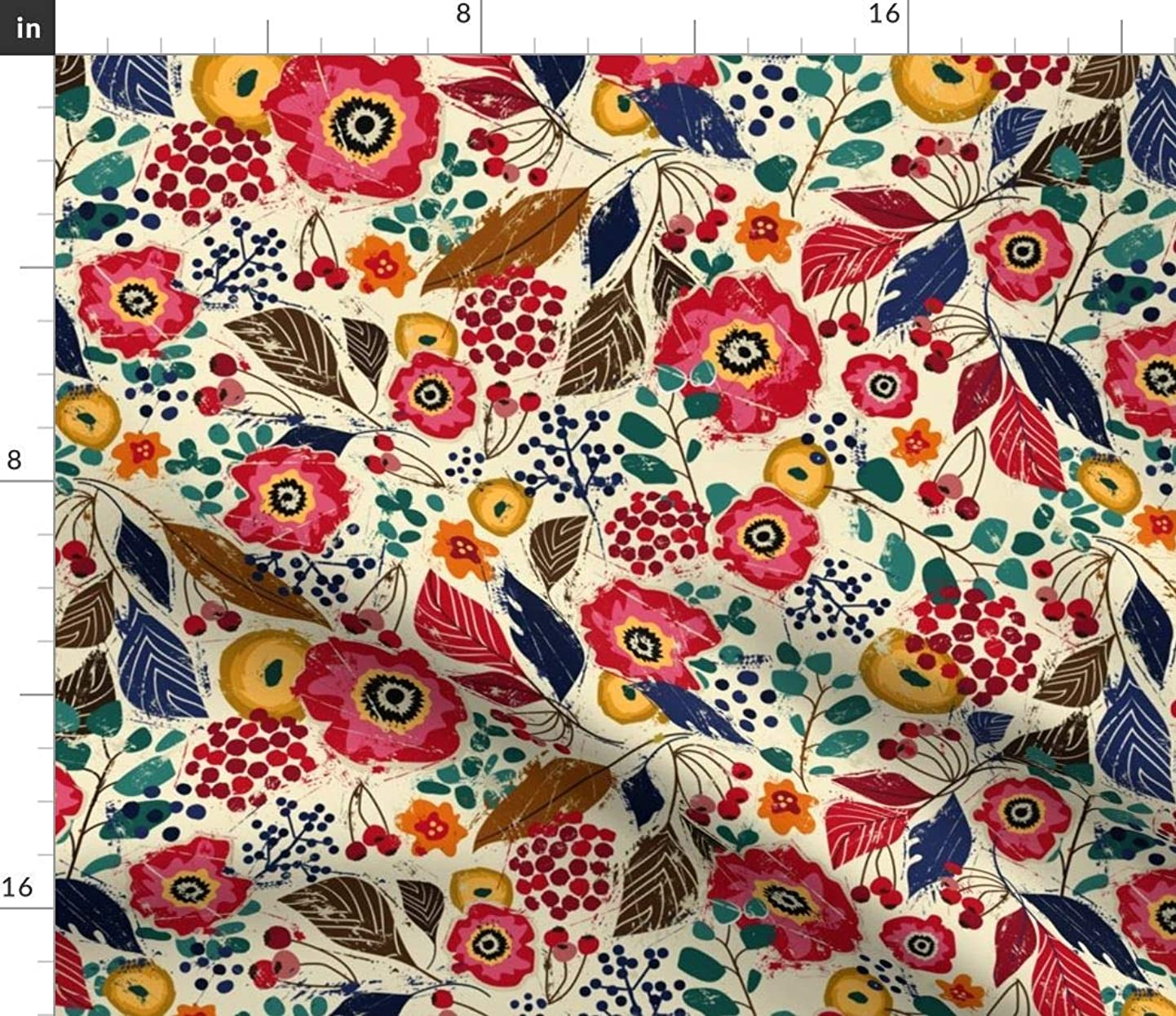Botanical Fabric - Block Print Floral Flower Leaves Berries Garden Mod Wood Cut Rustic Pattern Red Print on Fabric by The Yard - Eco Canvas for Durable Upholstery Home Decor Accessories vojvaowlywh6