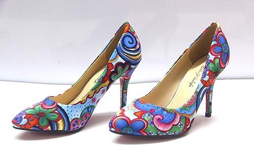 HOESCZS Printemps Nouveau Bouche Peu Profonde Chaussures à Talons Hauts pour Femmes National Vent Rétro Pointu Fleurs Petites Chaussures Simples