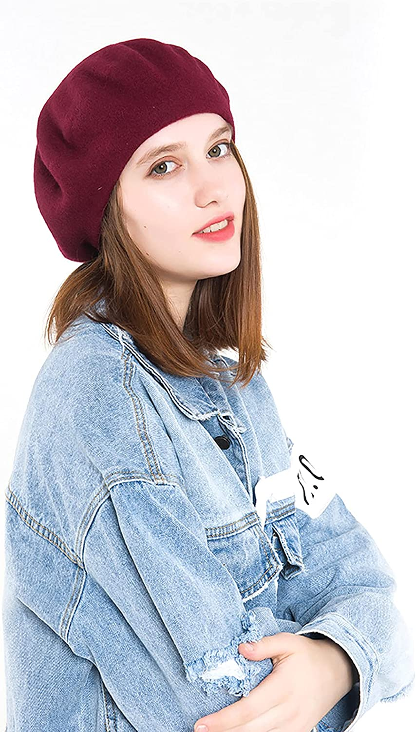 puseky Wool Beret with Cross Max 81% OFF Straps Solid Excellence Style Artist French Co