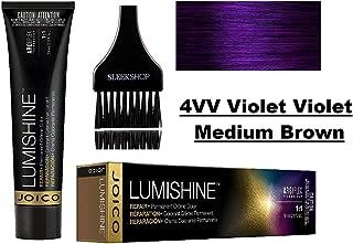 Joico LUMISHINE Repair+ PERMANENT Creme Hair Color (with Sleek Applicator Brush) Cream Haircolor (4VV Violet Violet Medium Brown)