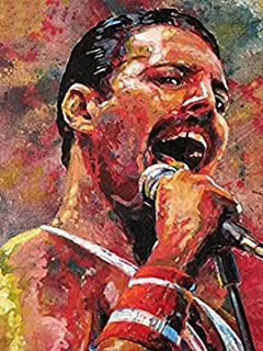 DIY 5d Diamond Painting Kits for Adults Full Drill 12x16 Inch, Queen Band Freddie Mercury Embroidery Rhinestone Cross Stitch Diamond Arts Craft for Home Wall Decor - 902