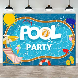 Ticuenicoa 7×5ft Summer Pool Party Backdrop Summer Swimming Pool Party Sunshine Cool Theme Party Banner Decorations Pool B...