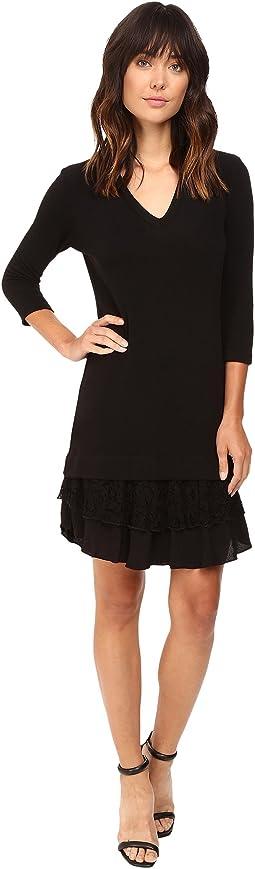 Lace Ruffle Sweater Dress