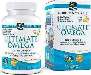 Nordic Naturals Ultimate Omega, Lemon Flavor - 1280 mg Omega-3 - 60 Soft Gels - High-Potency Omega-3 Fish Oil Supplement w...