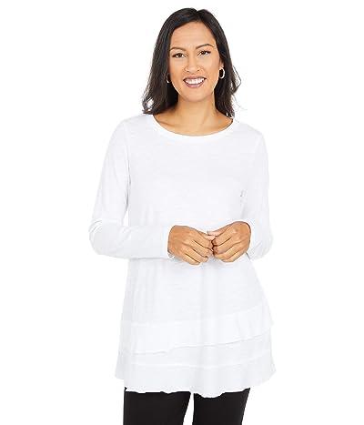 Mod-o-doc Slub Jersey Asymmetrical Long Sleeve Flounce Hem Tee (White) Women