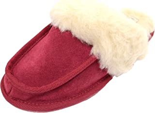 SNUGRUGS Womens Lambswool Lined Mule Slipper, Light Weight Sole & Wool Cuff