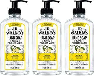 JR Watkins Gel Hand Soap, Lemon, 3 Pack, Scented Liquid Hand Wash for Bathroom or Kitchen, USA Made and Cruelty Free, 11 fl oz