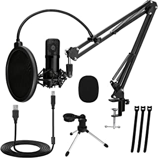 TonyKey Podcast Microphone, PC Microphone with 2 Stands, Plug and Play Computer Microphone for Studio Gaming Recording Str...