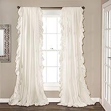 طقم ستائر النافذة رينا من لوش ديكور لغرفة المعيشة، غرفة الطعام، غرفة النوم (زوج)، 95 إنش × 54 إنش، أبيض