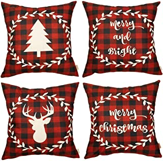 Fjfz Set of 4 Christmas Farmhouse Decorative Throw Pillow Cover 4Pcs Buffalo Plaid Deer Tree Sign Winter Holiday Decoration Merry & Bright Home Décor Cotton Linen Cushion Case for Sofa Couch 18