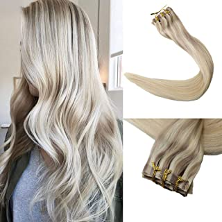 Full Shine 8 Pcs 120g 14 inch Real Human Hair Color #18 Ash Blonde Fading to #22 and #60 Blonde Highlighted Balayage Seamless Clip in Hair Extensions Remy Human Hair Extensions