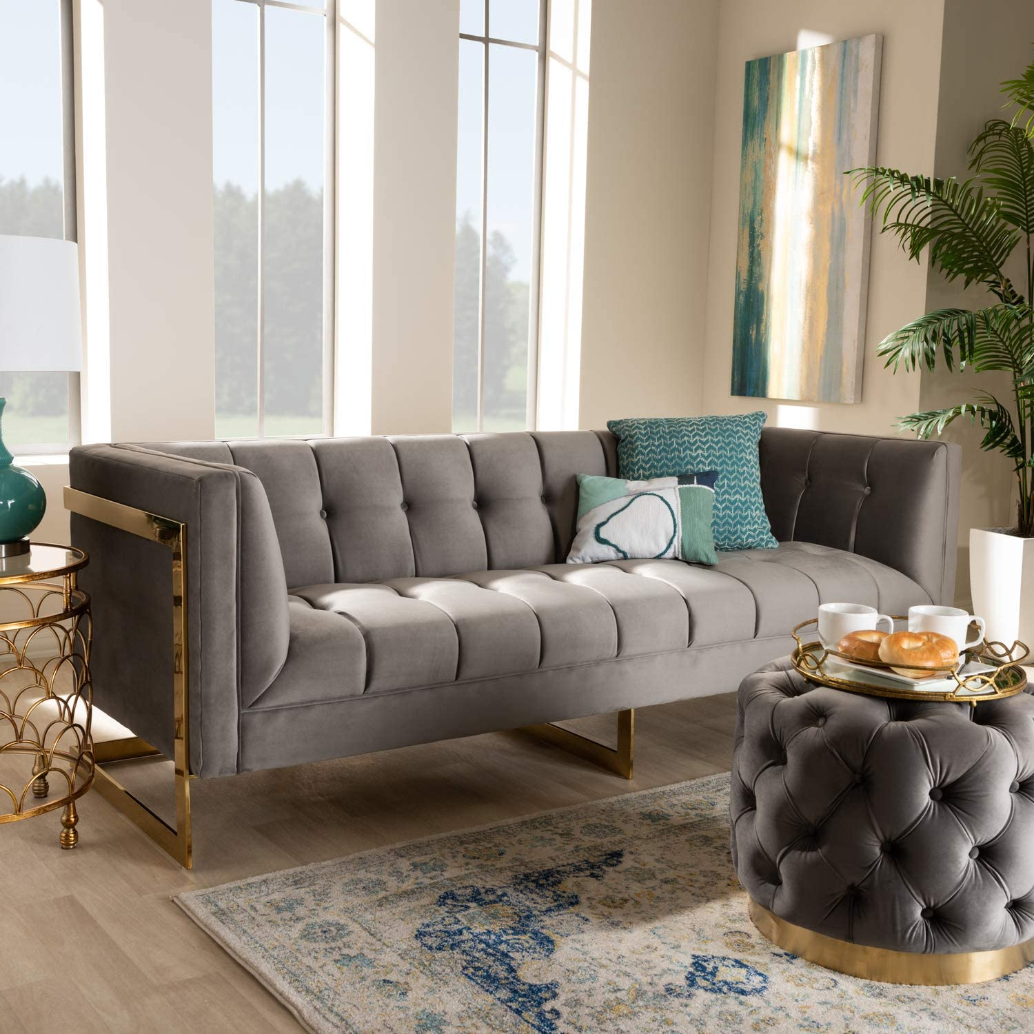 Baxton Popular brand in the world Studio Ambra Glam and Velvet Very popular Grey Upholstered Fabric Luxe
