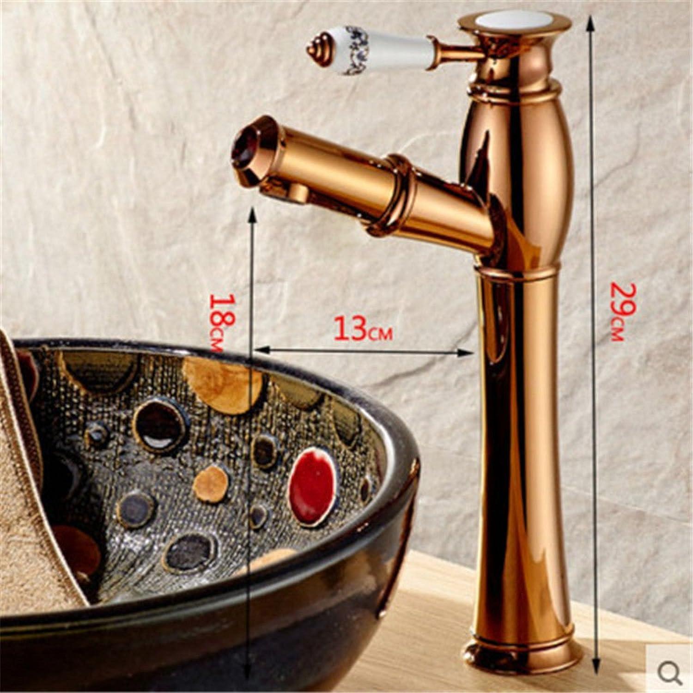 ETERNAL QUALITY Badezimmer Waschbecken Wasserhahn Messing Hahn Waschraum Mischer Mischbatterie Tippen Sie auf antiken Küche Wasserhahn Keramik Schalter Single-Voller Kupf