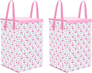 PrettyKrafts Laundry Basket for Clothes with Lid & Handles, Toys Organiser, 75 LTR, Duck Print, Pink, Set of 2
