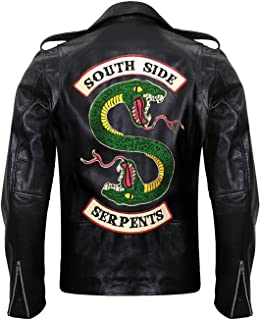Men's Riverdale Southside Serpents Jughead Black Classic Snake Logo Design Motorcycle Leather Biker Jacket