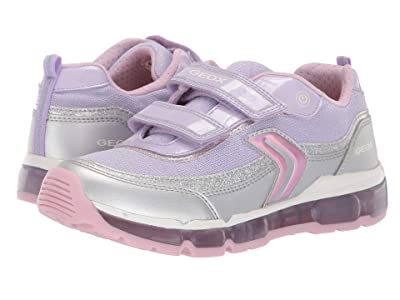 Geox Kids Android Girl 21 (Big Kid) (Silver/Lilac) Girl